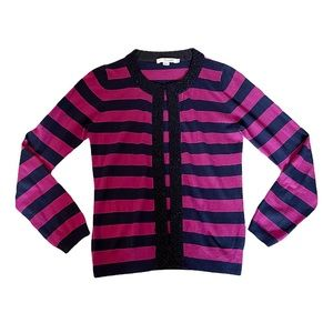 Boden Pink/Navy Striped Bead Embellished Cardigan